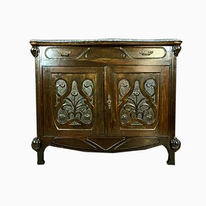 Antique Art Nouveau Natural Wood Buffet