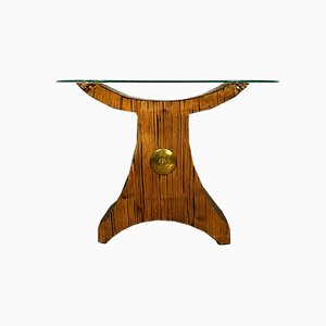 Brutalist Wood Console Table, 1970s