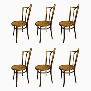 Antique Wooden Curved & Inlaid Dining Chairs from Baumann, Set of 6