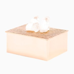 Handcrafted and Polished Cast Bronze and White Quartz Nicks Box