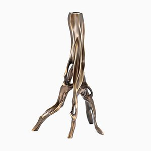 Handcrafted and Dark Cast Bronze Alexia Candleholder