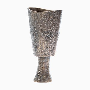 Handcrafted and Dark Cast Bronze Plant Vase