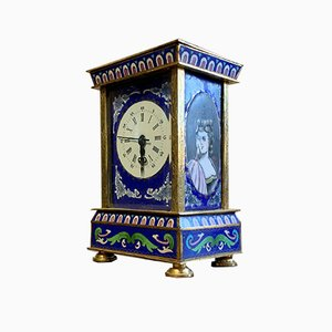 Bronze Travel Alarm Clock with Foliated Decoration