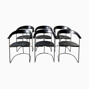 Italienische Vintage Esszimmerstühle aus schwarzem Leder von Arrben, 6er Set