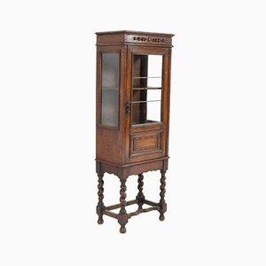 Oak Small Jacobean Style China Cabinet, 1930s