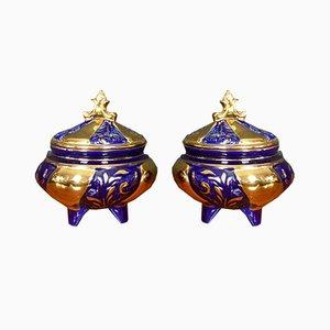 Parisian Porcelain Jars with Golden Decorations, 1940s, Set of 2