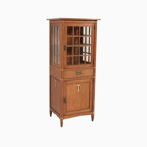 Oak Arts & Crafts Art Nouveau China Cabinet with Inlay, 1900s