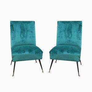 Green Velvet Lounge Chairs by Gigi Radice for Minotti, 1950s, Set of 2