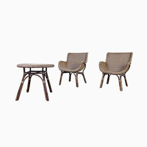 Mid-Century Wicker Table and Chairs, Set of 3