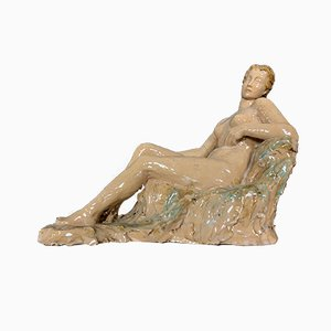 Art Nouveau Glazed Terracotta Earthenware Statue