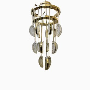Mid-Century Round Murano Glass and Brass Chandelier, 1970