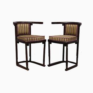Antique Art Nouveau Austrian Beech Wood and Striped Velvet Chairs, 1910, Set of 2