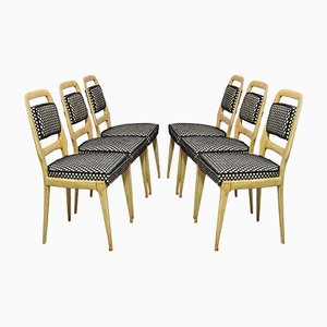 Mid-Century Maple Wood and Velvet Dining Chairs by Vittorio Dassi, 1950s, Set of 6