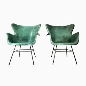 Wingback Fiberglass Armchairs by Lawrence Peabody for Selig Furniture, 1960s, Set of 2
