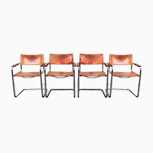 Vintage Model S34 Cognac Saddle Leather Dining Chairs by Mart Stam & Marcel Breuer for Unbekannt, Set of 4