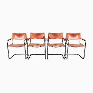 Vintage Modell S34 Cognacfarbene Sattelleder Esszimmerstühle von Mart Stam & Marcel Breuer für Unbekannt, 4er Set