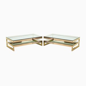 23-Carat Gold-Plated Coffee Table With Glass Top from Belgo Chrom / Dewulf Selection, 1970s
