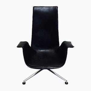 Kippbarer Leder Tulip Chair von Preben Fabricius & Jørgen Kastholm für Kill International, 1960er