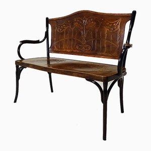 Antique Embossed Bentwood Bench by Jacob and Josef Kohn