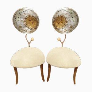 Sillas de comedor italianas posmodernas al estilo de Mendini & Fornasetti, años 90. Juego de 2