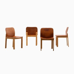 Mid-Century Leather Dining Chairs by Tobia & Afra Scarpa, Set of 4