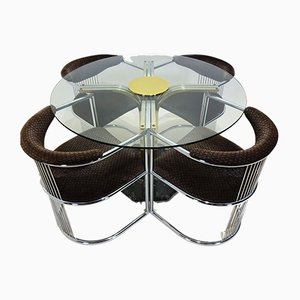 Italian Glass, Brass, Chrome & Marble Dining Table & Chairs Set by Milo Baughman, 1970s, Set of 5
