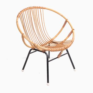 Vintage Bamboo Round Lounge Chair from Rohé Noordwolde, 1950s