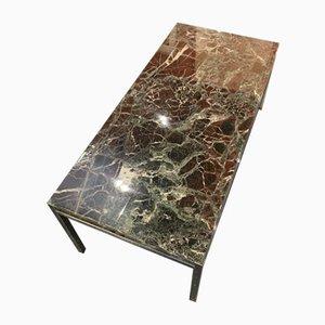 Mesa de centro de mármol y resina con base de cromo, años 60