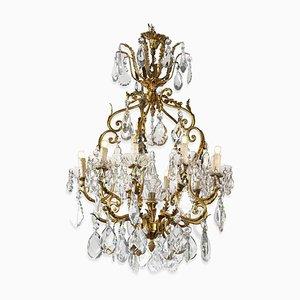 Golden Crystal Chandelier, 1950s