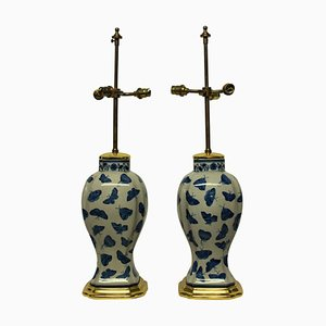 Antique Chinese Butterfly Table Lamps, Set of 2