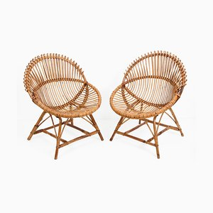 Mid-Century Italian Rattan Shell-Shaped Lounge Chairs by Franco Albini, 1950s, Set of 2