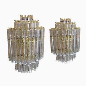Murano Glas Triedro Wandlampen von Italian Light Design, 2er Set