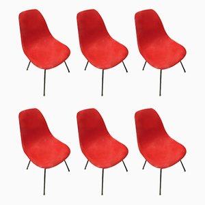 Sedie DSX rosse in fibra di vetro di Charles & Ray Eames, anni '50, set di 6
