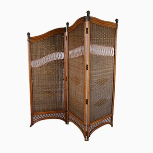 Vintage Rattan Folding Screen or Room Divider in Bamboo with Wicker