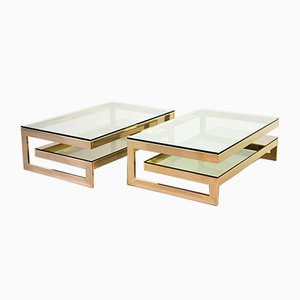 G-Table 23-Carat Gold-Plated Coffee Tables with Glass Tops from Belgo Chrom / Dewulf Selection, 1970s, Set of 2