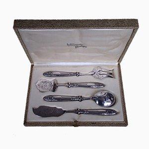 Antique Art Nouveau Pewter & Silver Cutlery Set from Josselin, Set of 5
