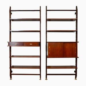 Italian Mahogany Bookcases, 1960s, Set of 2