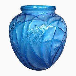 Vase Antique en Verre Bleu de Lalique, 1910s