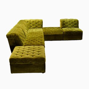Crispy Green Velvet Modular Lounge Corner Sofa from Laauser, 1970s, Set of 6
