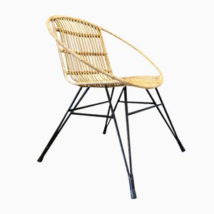 Metal & Rattan Side Chair, 1950s