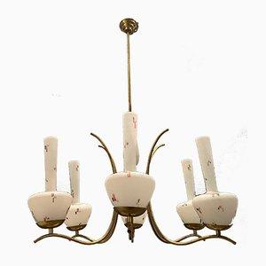 Opalglas Kronleuchter von Stilnovo, 1950er
