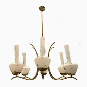 Opaline Glass Chandelier from Stilnovo, 1950s