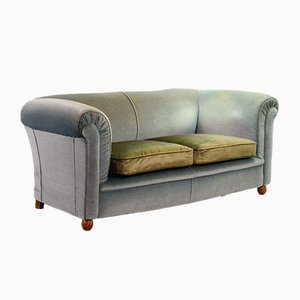 Chesterfield Duotone Two-Seat Victorian Sofa in Frosted Blue and Moss Green Velvet, 1950s