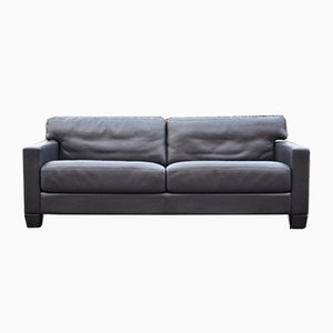 Vintage Swiss DS 17 Black Leather Sofa from de Sede, 1990s