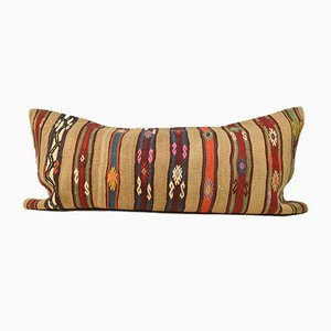 King Size Beige Wool Striped Kilim Pillow Cover by Zencef Contemporary