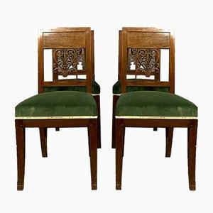 Empire Esszimmerstühle aus Mahagoni, 1810er, 4er Set