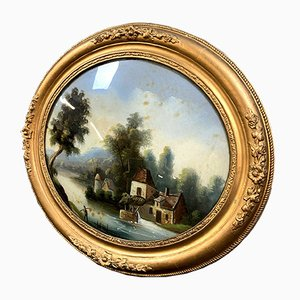 Very Large Louis Philippe Glass Oval with Lake Landscape, 1830