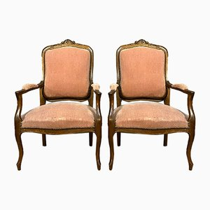 Louis XV Cabriolet Armchairs, 1850s, Set of 2