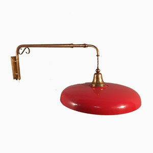Telescopic Sconce with Red Brass Shade, 1950s