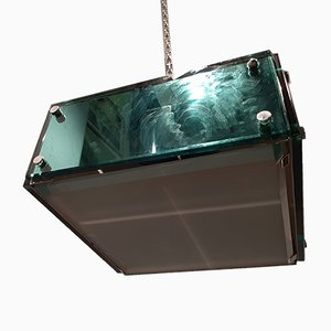 Mirrored & Thick Bevelled Glass Ceiling Lamp, 1960s